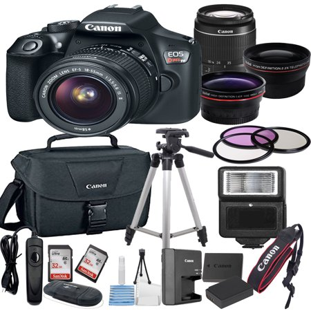 - Canon EOS Rebel T6 Digital SLR Camera w/ EF-S 18-55mm Bundle includes Camera, Lenses, Filters, Bag, Memory Cards, Tripod, Flash, Remote Shutter , Cleaning Kit, Replacement Battery ,  Tripod ,and More