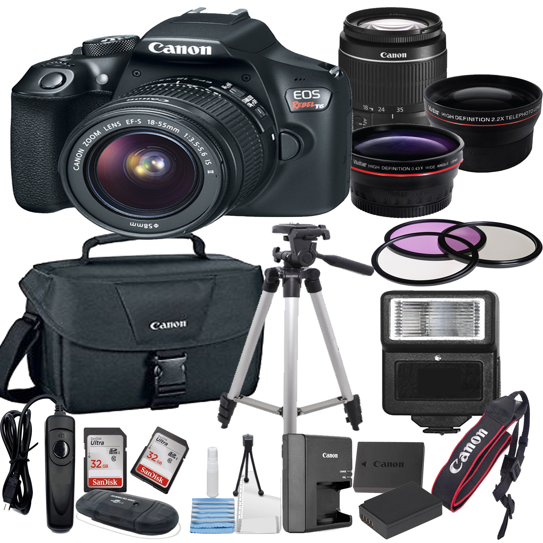 Canon EOS Rebel T6 Digital SLR Camera w/ EF-S 18-55mm Bundle includes Camera, Lenses, Filters, Bag, Memory Cards, Tripod, Flash, Remote Shutter , Cleaning Kit, Replacement Battery ,  Tripod ,and More