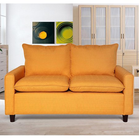 US Pride Furniture Blaire Modern Contemporary Fabric Upholstered Love Seat, Orange