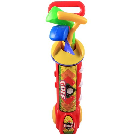 Kid's Happy Golfer Toy Golf Set w/ 3 Golf Balls, 3 Types of Clubs, 2 Practice Holes, Perfect Golf Set for Children (Red)
