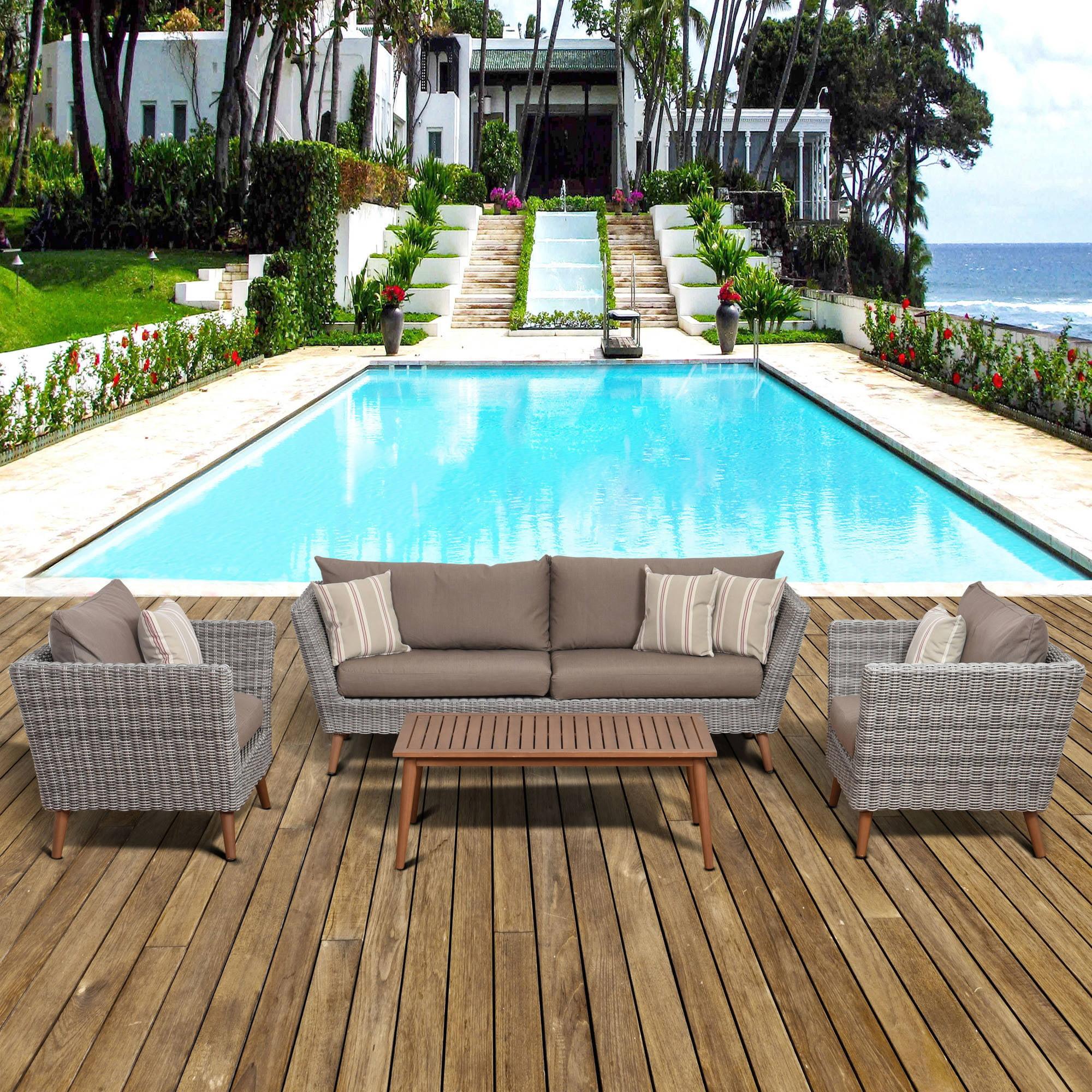 Amazonia Malta 4-Piece Conversation Set with Brown Cushions