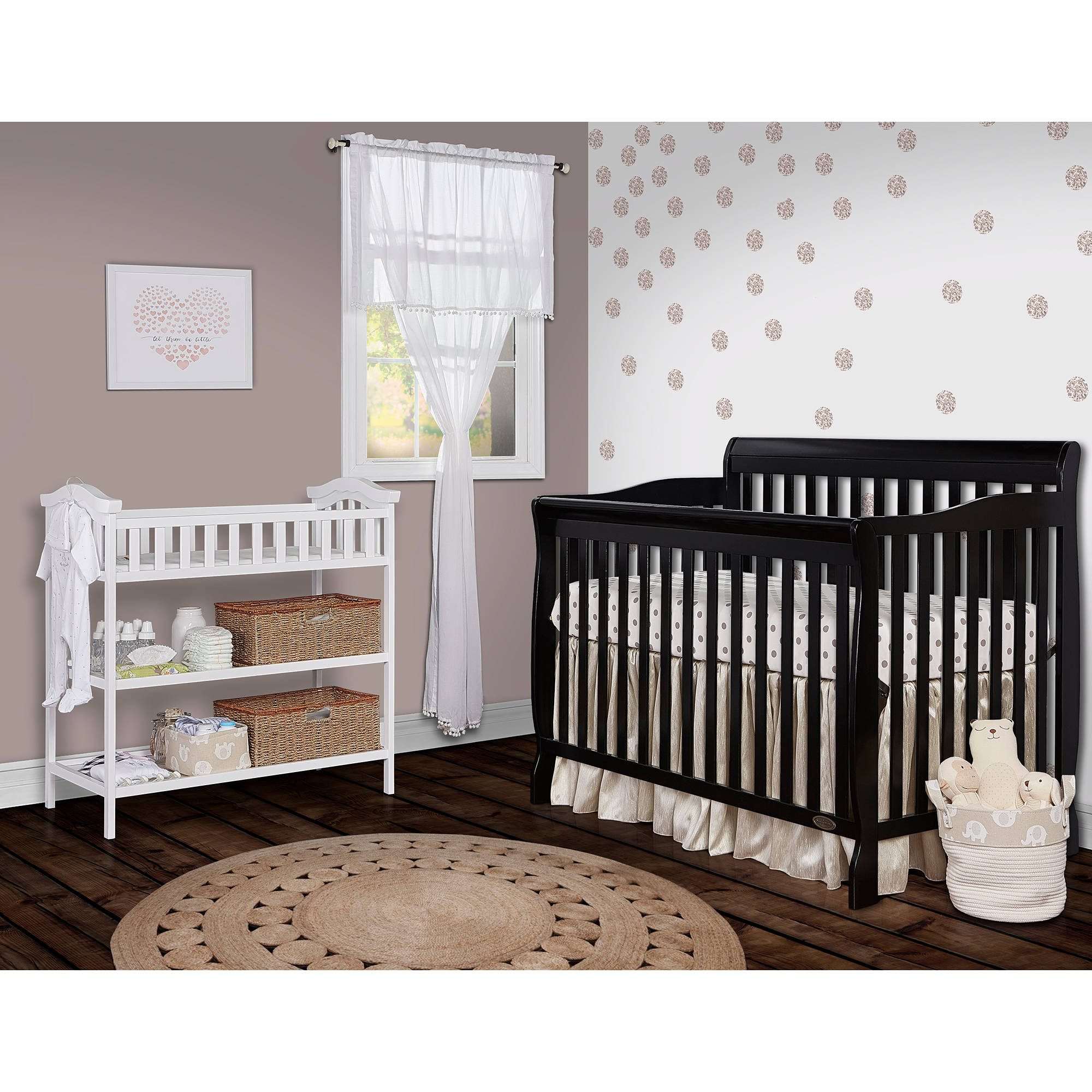 Dream On Me Ashton Convertible 5-in-1 Crib, Black