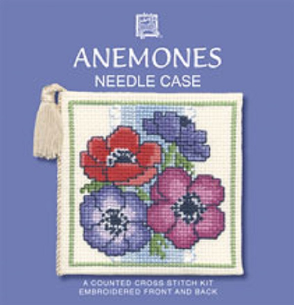 Textile Heritage Needle Case Counted Cross Stitch Kit - Anemones