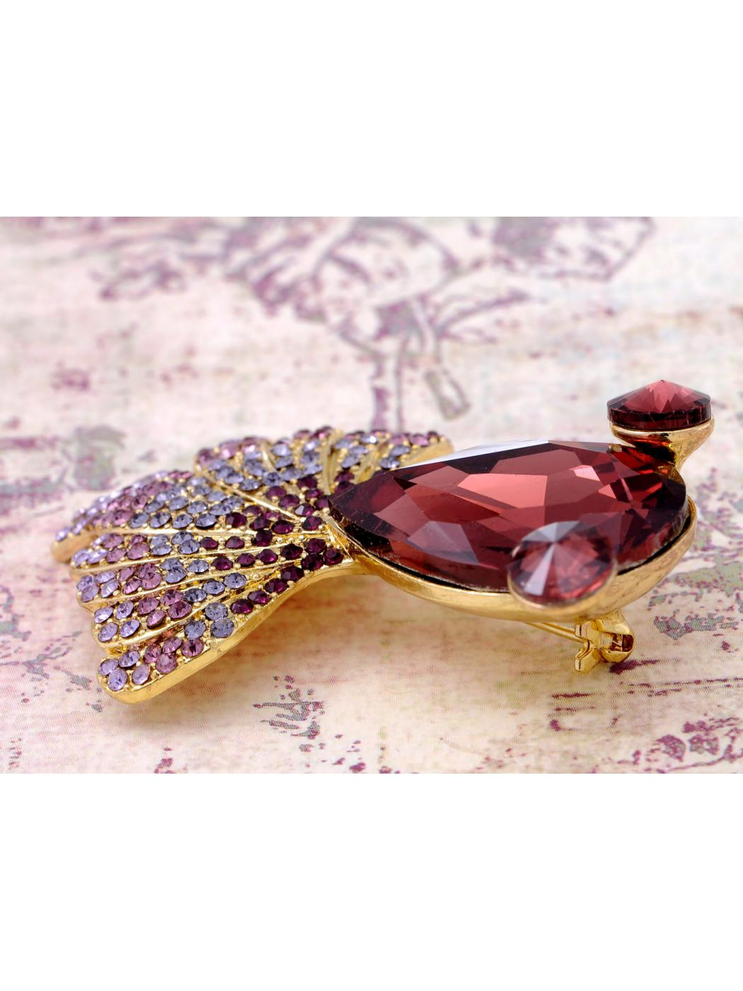 Golden Tone Metal Purple Gradient Tail Teardrop Body Cartoon Fish Pin Brooch by