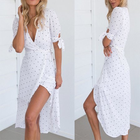 Womens Boho Floral Short Sleeve Summer Dot V-neck Sexy White Beach - Beach Theme Clothes
