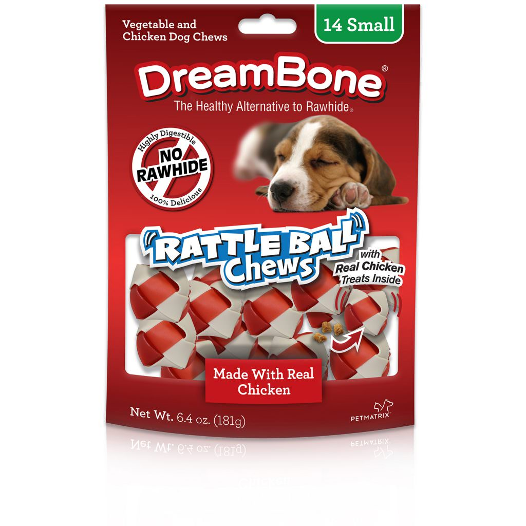 DreamBone Small Rattle Ball Chicken Chews Dog Treats, 14 Count