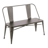 Oregon Industrial Metal Dining/Entryway Bench with Antique Finish by LumiSource