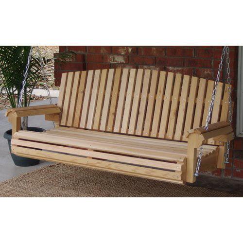 Highland Dunes Hilyard Fan Back Cedar Porch Swing