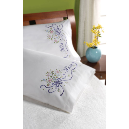 Bucilla Bridal Bouquet Stamped Embroidery Kit Pillowcase Pair, 45075 30 by 20-Inch