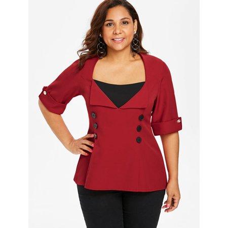 b95ffc637cef0 Rosegal - Womens Plus Size Top On Clearance Two Tone Dip Hem Blouses -  Walmart.com