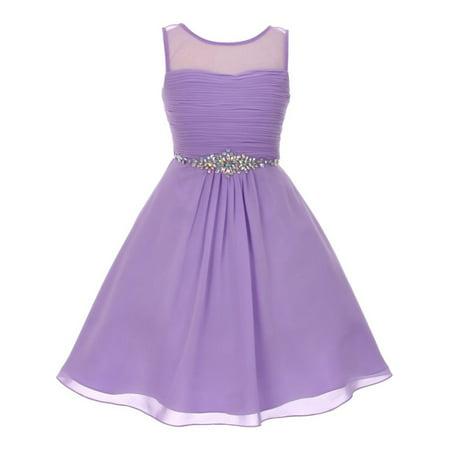 Girls Lilac Glitter Rhinestone Chiffon Flower Girl Dress 8-16