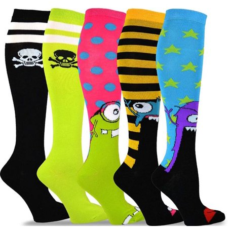 TeeHee Novelty Cotton Knee High Fun Socks 5-Pack for Women Love Knee High Socks