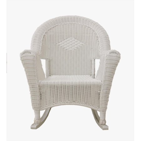White Resin Wicker Rocking Chair Patio Furniture Walmart Com