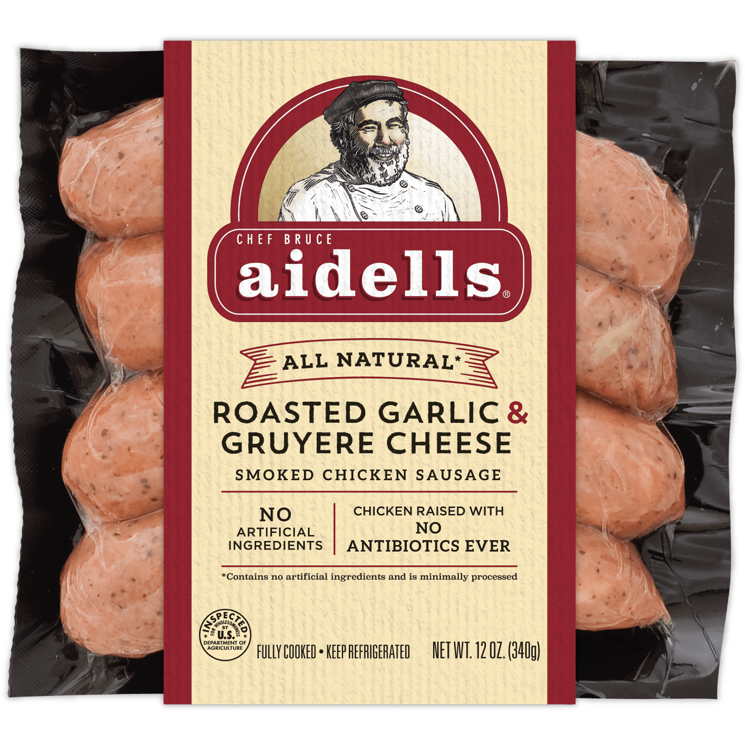 Aidells Roasted Garlic & Gruyere Cheese Smoked Chicken Sausage, 12 Oz., 4 Count