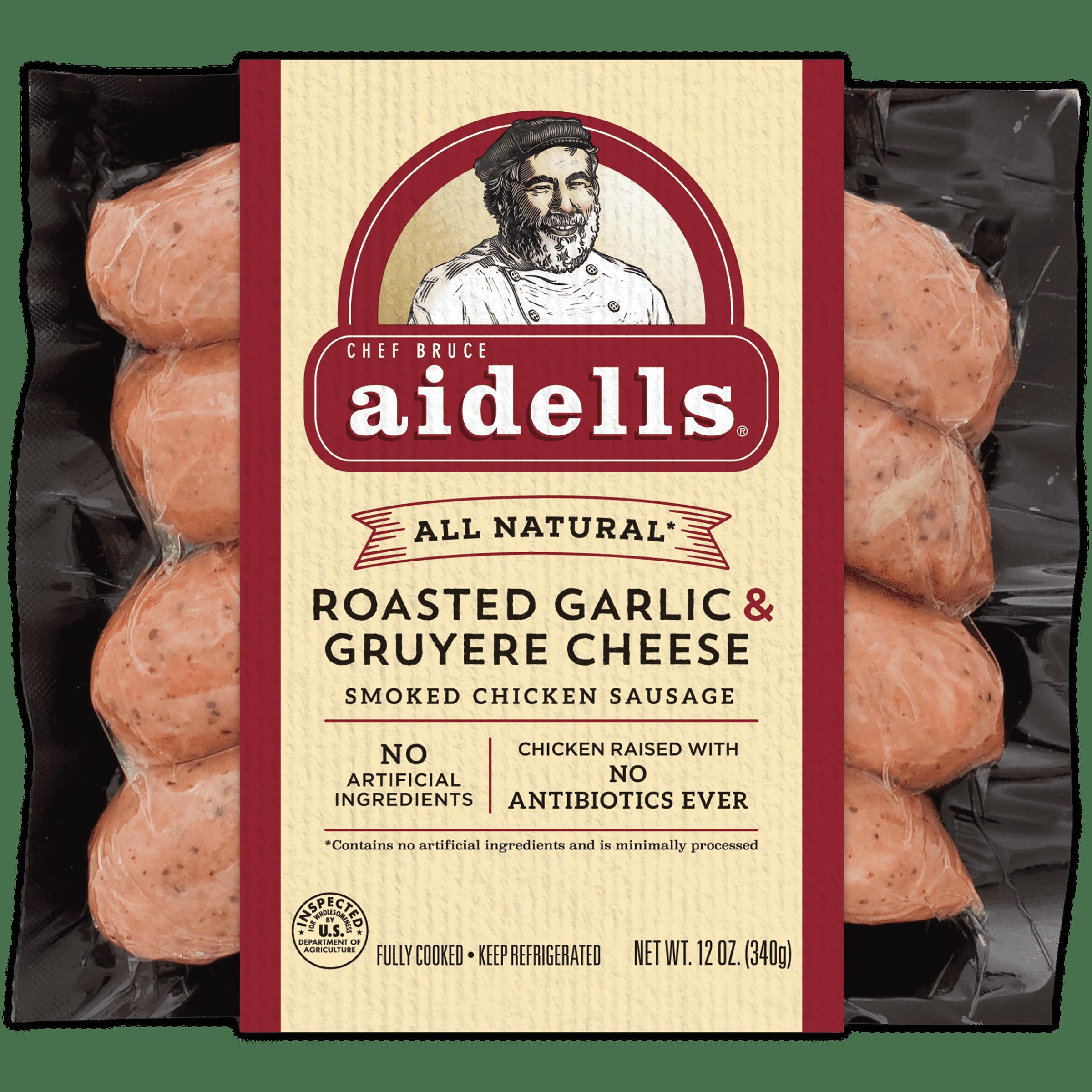 Aidells Roasted Garlic & Gruyere Cheese Smoked Chicken Sausage, 12 Oz., 4 Count