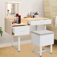 Anauto White Dressing Table with Mirror Writing Desk Makeup Desk Set with Drawers