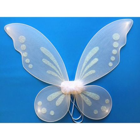White Tinkerbell Pixie Butterfly Fairy Wing Dress Up Girls Costume