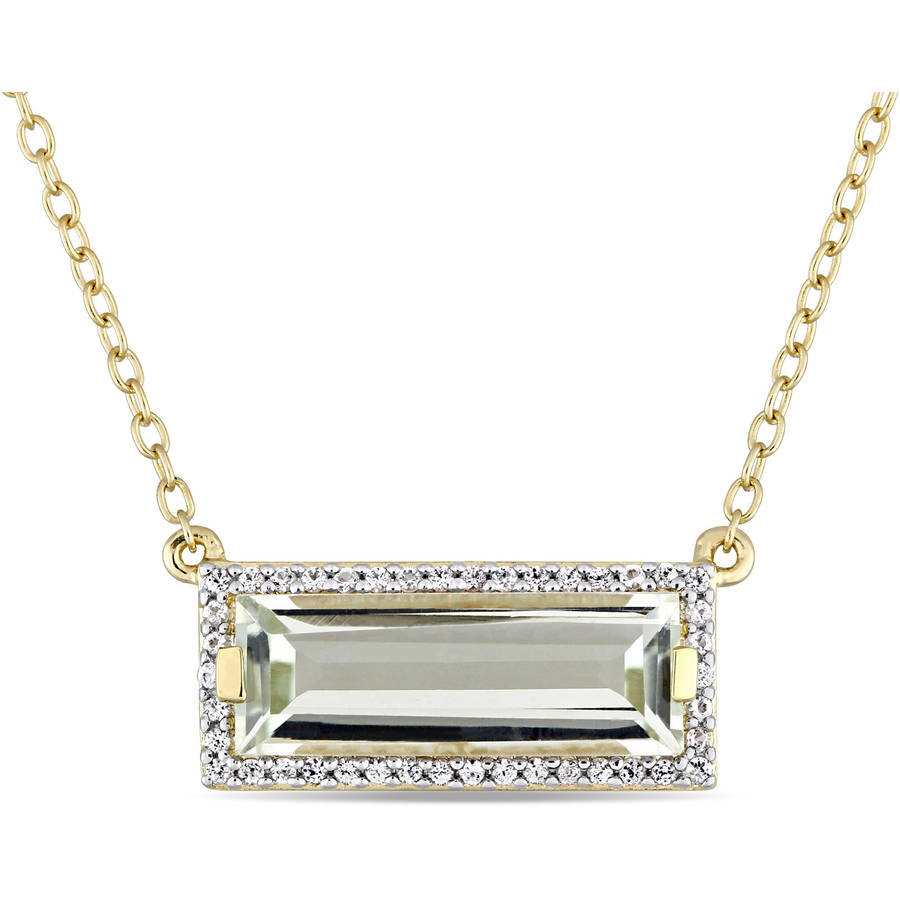 Tangelo 2-3 8 Carat T.G.W. Green Amethyst and White Sapphire Yellow Rhodium-Plated Sterling Silver Baguette Necklace,... by Tangelo