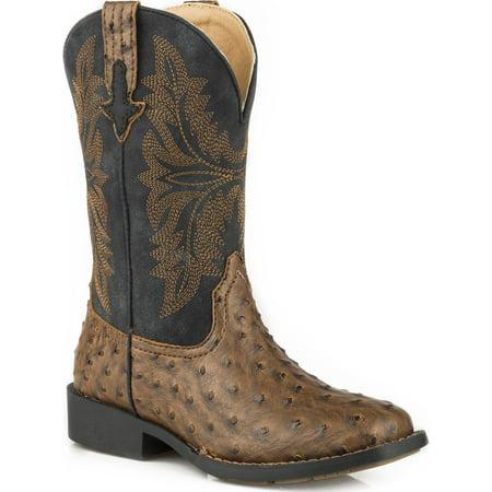Roper Boys' Ostrich Print Cowboy Boot Square Toe - 09-119-1224-2003 Br