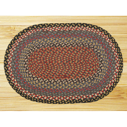 Earth Rugs Burgundy/Blue/Gray Braided Area Rug