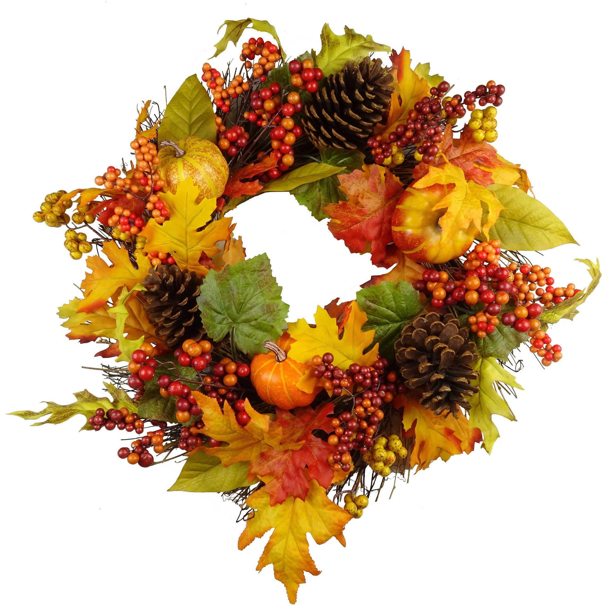 Walmart Halloween Orange Pumpkin  /  Berry Mixed Wreath Fall Harvest Halloween Decoration