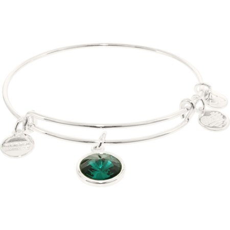 Alex And Ani Women's Crystal Birthstone May Emerald Shiny Silver Cubic-Zirconia Charm Bracelet - 8