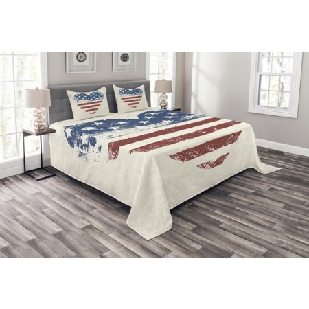 Americana Bedspread Set, Patriotic America USA Flag Heart Shaped Stars and Stripes Inspirational, Decorative Quilted Coverlet Set with Pillow Shams Included, Blue Vermilion Cream, by