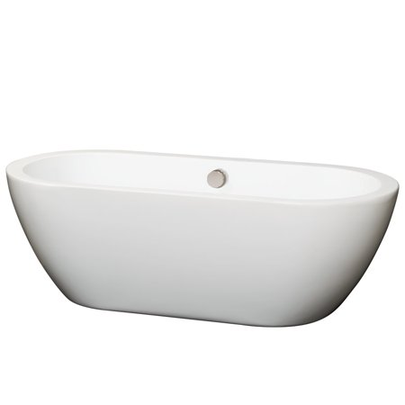 "Wyndham Collection Soho 68"" Freestanding Bathtub in White with Brushed Nickel Drain and Overflow Trim"