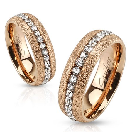 Glittery Rose Gold IP Over Stainless Steel Eternity Ring with Clear CZ Center (SIZE: 5)