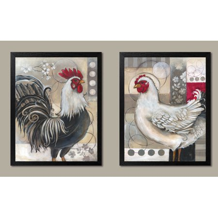 2 Popular Retro Rooster and Chicken Set; Kitchen Decor; Two 11x14 Black Framed Prints. - Black Rooster Decor