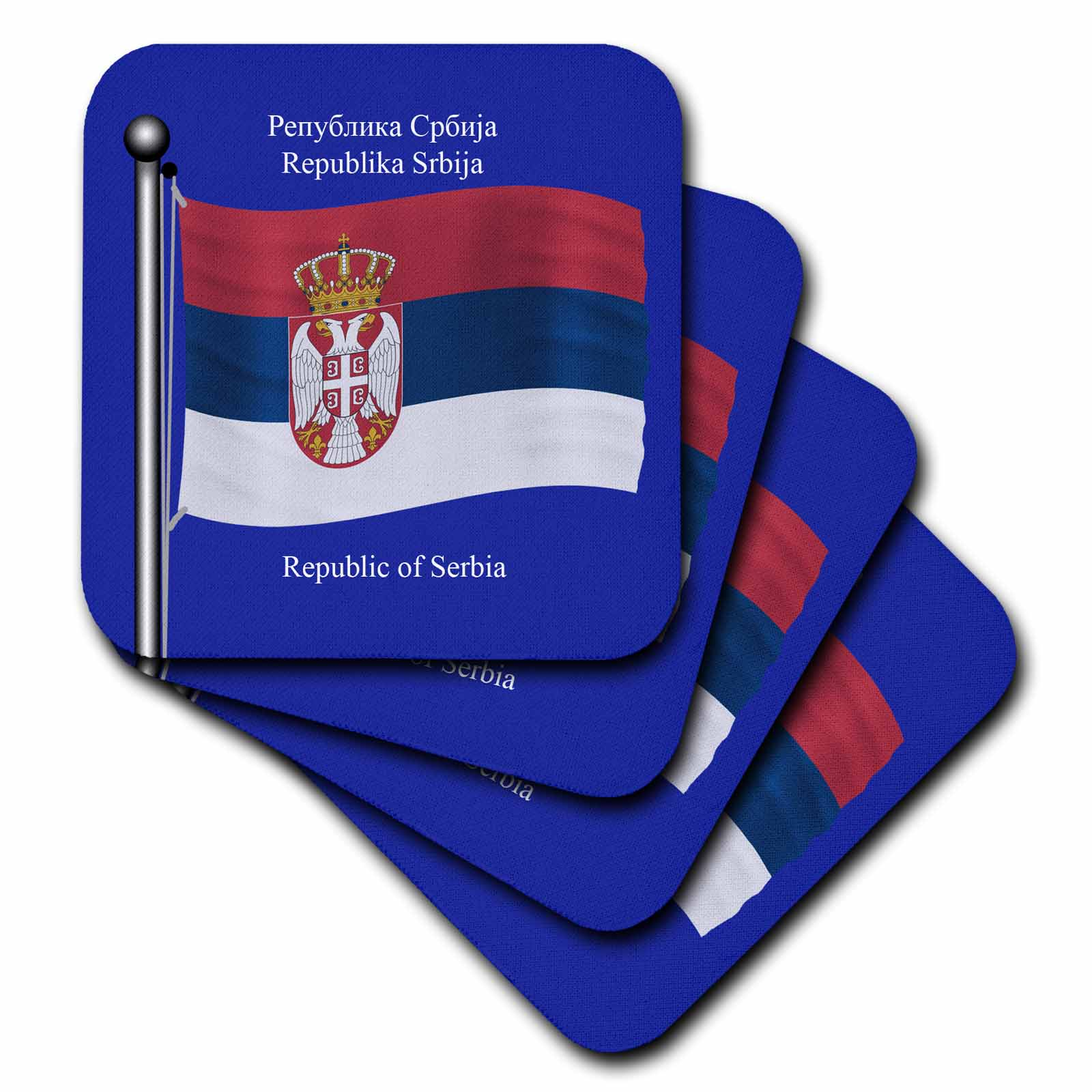 3dRose The flag of Serbia on a blue background with Republic of Serbia in English and Serbian, Soft Coasters, set of 8