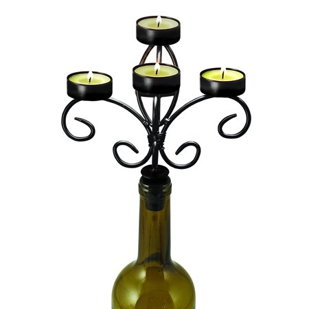 Boulevard Wine Bottle Candelabra by – (Distressed Black Bronze Metal Finish), Wine Antique Horseshoe providing Corkscrew 3X candles Black Metal THE Rack tea.., By Twine Ship from US ()