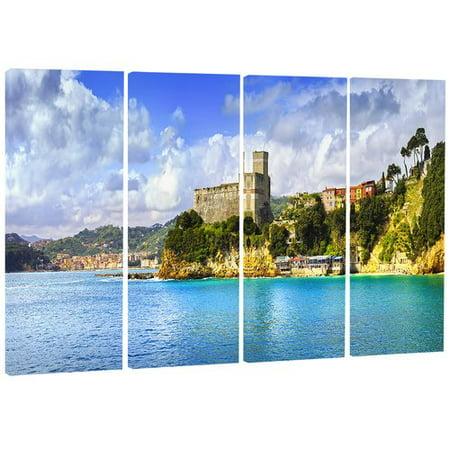Design Art 'Lerici Village Panorama' 4 Piece Photographic Print on Wrapped Canvas Set ()