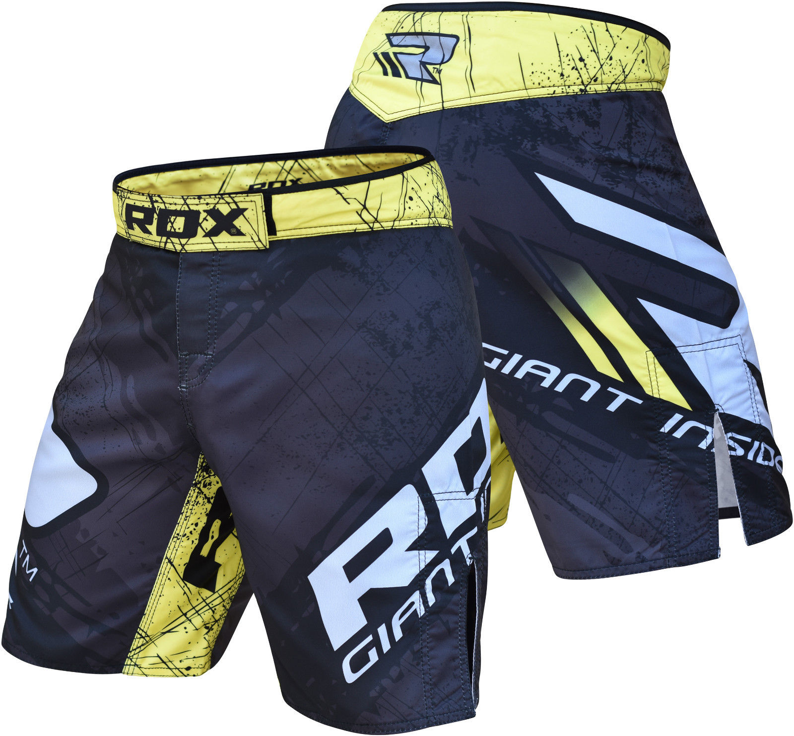 RDX R4 MMA Fight Shorts, Black/Yellow, L