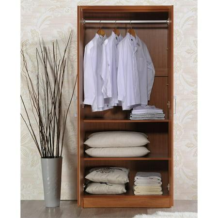 Hodedah 2 Door Armoire with 4 Shelves in Cherry - image 3 de 6