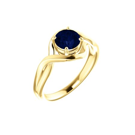 14k Yellow Gold Gem Quality Chatham® Lab-Grown Blue Sapphire Solitaire Infinity Gemstone (Best Quality Yellow Sapphire Gemstone)