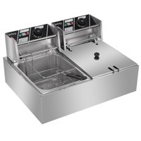 Commercial Stainless Steel Deep Fryers on Sale, 12.7-Quart Electric Fryer w/2 Single Tank Fryers, Kitchen Appliances Fryers w/2 Basket, Kitchen Appliances Fryers with 2 Basket and Lid Cover, S5852
