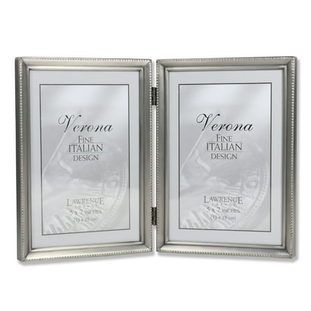 Antique Pewter 5x7 Hinged Double Picture Frame - Bead Border Design