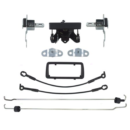 BROCK Tailgate Handles & Bezels w/ Latch Cable Rod Bed Side Hinges Kit Pair Set Replacement for 94-04 Chevrolet S10 GMC Sonoma Pickup Truck