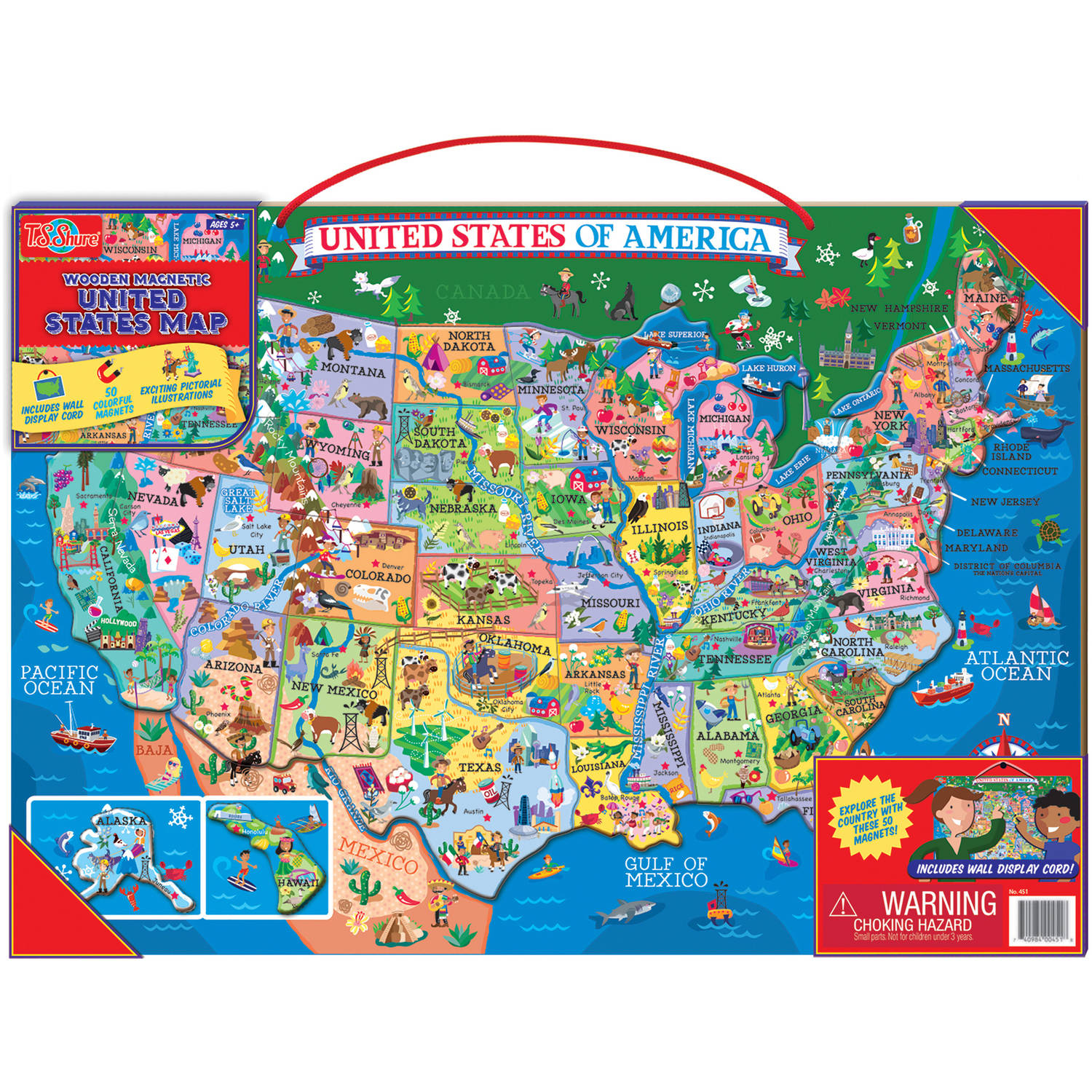 T.S. Shure Wooden Magnetic United States Map