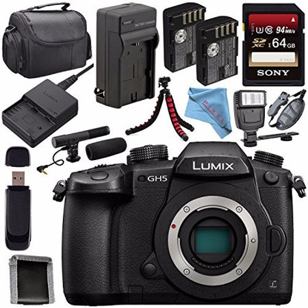Panasonic Lumix DC-GH5 DC-GH5KBODY Mirrorless Micro Four Thirds Digital Camera + DMW-BLF19 Battery + Charger + Sony 64GB SDXC Card + Carrying Case + Memory Card Wallet + Tripod + Flash