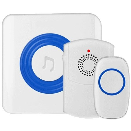 SadoTech Flashing Wireless Doorbell with Portable Vibrating Receiver (with belt clip), Transmitter Button and Plugin Flashing Receiver Operating at 500-feet Range with Over 50 Chimes,Model H (White)