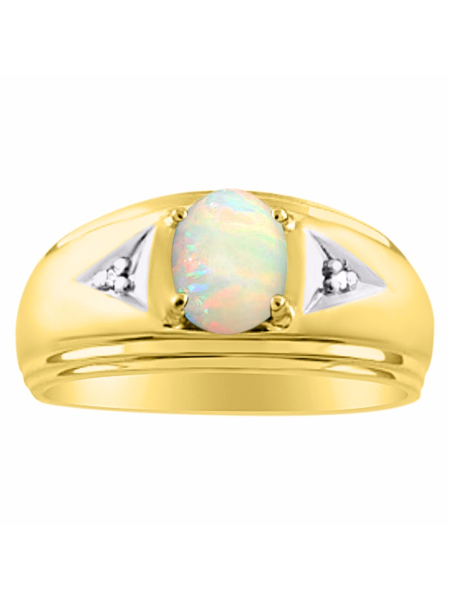 Opal & Diamond Ring Set In Yellow Gold Plated Silver CCSL-MR2864OPY by Rylos