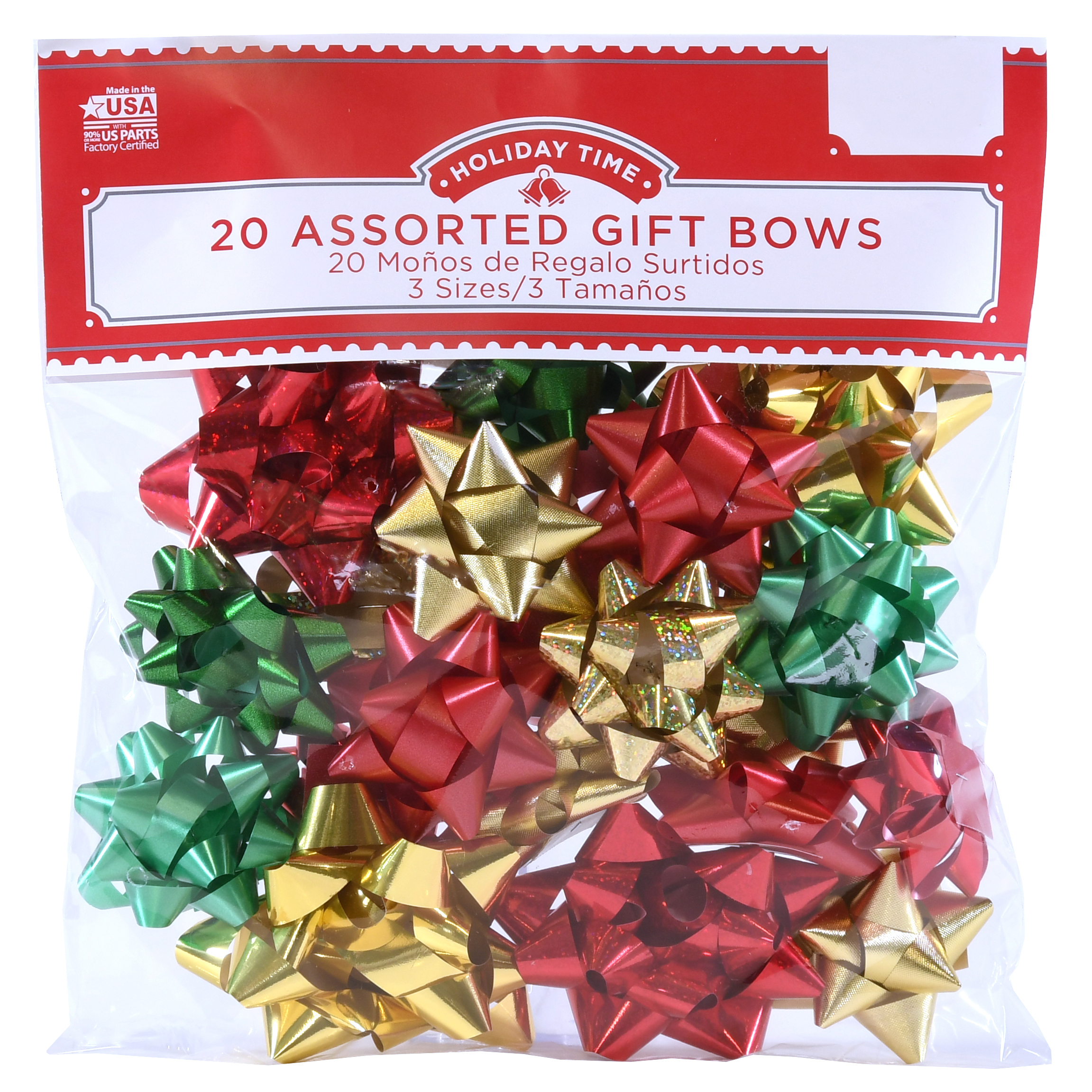 20 COUNT GIFT BOW ASSORTMENT - RED/GOLD/GREEN