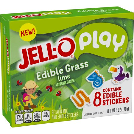 (4 Pack) Jell-O Play Edible Grass Lime Gelatin Mix, 3 oz Box