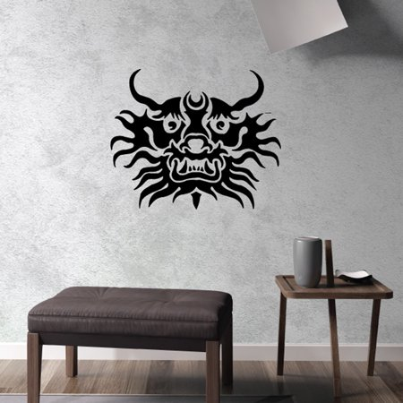Chinese Dragon Face (Tribal Chinese Dragon Face Decal - 36)