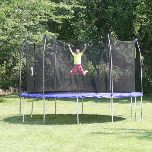 Skywalker Trampolines 14' Round Trampoline and Enclosure with Wind Stakes - Blue