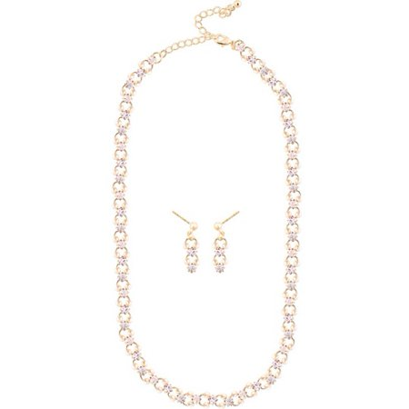 Gold Tone Crystal Stone and Faux Pearl Fashion Necklace and Earring Set, 16 1/2""