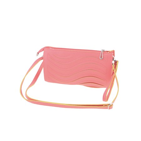 Wave Pattern Faux Leather Zippered Shoulder Bag w Detachable