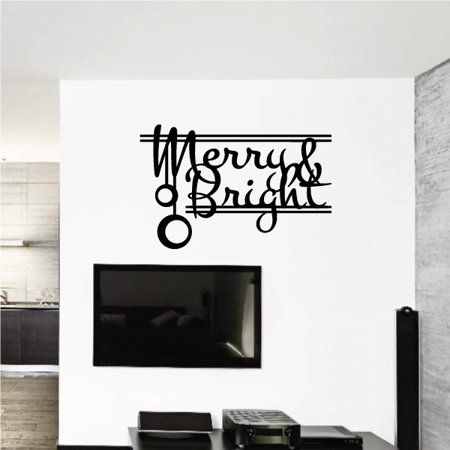 Merry Bright Christmas Quote Wall Decal Vinyl Decal Car Decal Vd161 36